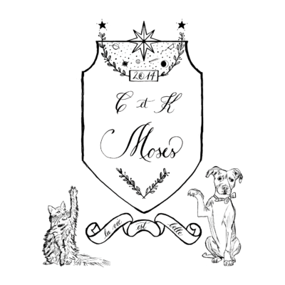 Moses with initials family crest with dog and cat pets, la vie est belle motto included, and astrology at the top